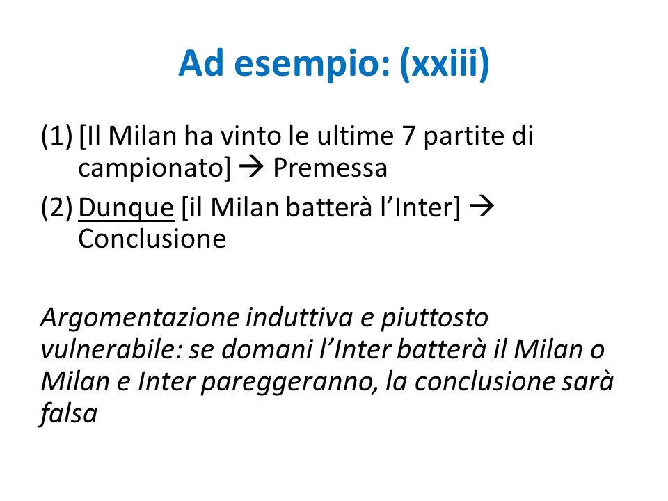 Ad esempio: (xxiii) [Il Milan ha vinto le ultime 7 partite di campionato]  Premessa. Dunque [il Milan batterà l'Inter]  Conclusione.